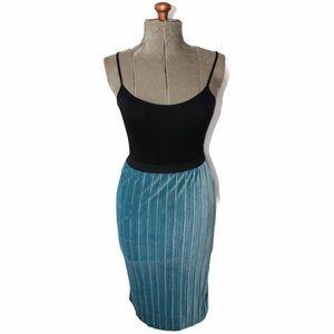 🎀3/$30 Leith Blue Pleated Velvet Midi Skirt